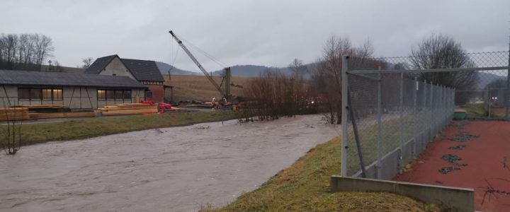 Hochwasser beim Tennisclub Rangendingen